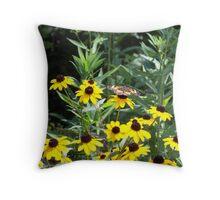 Black-eyed Susans and Butterflies Throw Pillow