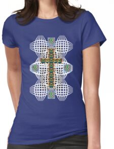 Abstract Cross Wht Womens Fitted T-Shirt