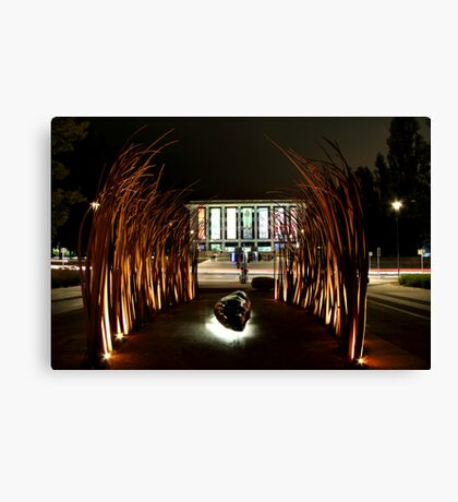 sculpture, library and lights Canvas Print