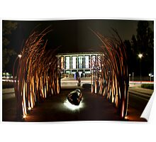 sculpture, library and lights Poster