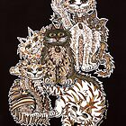 Sepia Cats ~ A cluster of quirky cats! by Lisafrancesjudd