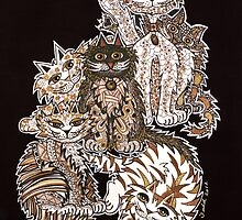 Sepia Cats ~ A cluster of quirky cats! by Lisa Frances Judd ~ QuirkyHappyArt