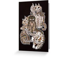 Sepia Cats ~ A cluster of quirky cats! Greeting Card
