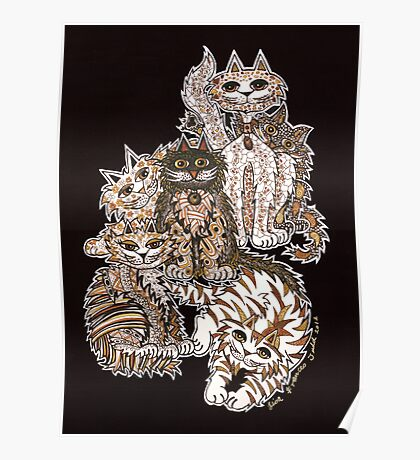 Sepia Cats ~ A cluster of quirky cats! Poster