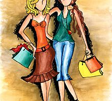 Girls Shopping Day ~ Nothing like a little 'girlfriend time' by Lisa Frances Judd ~ QuirkyHappyArt