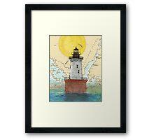 Hooper Island Lighthouse MD Map Cathy Peek Art Framed Print