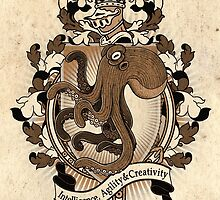 Octopus Coat Of Arms Heraldry by Heather Hitchman