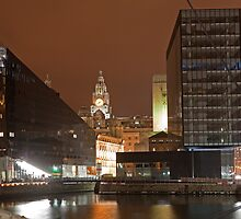 A Liverpool skyline night view by Keith Larby