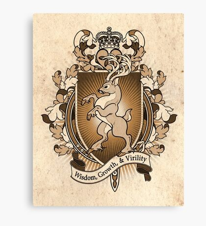 Stag Deer Coat Of Arms Heraldry Canvas Print