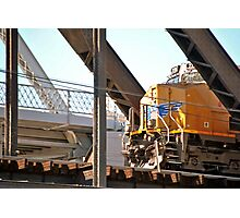 Locomotive on Suspension Bridge Photographic Print