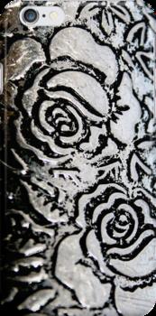 Metal roses iphone case by patjila