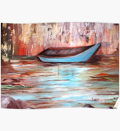 THE BOAT-Acrylic painting Poster