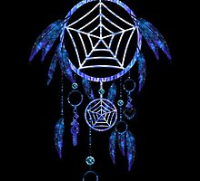 Luminescent Blue Tribal Dreamcatcher by pdgraphics