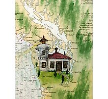 Mukilteo Lighthouse WA Nautical Chart Cathy Peek Photographic Print