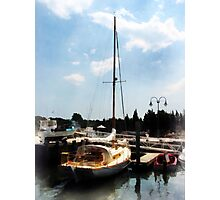 Docked Cabin Cruiser Photographic Print