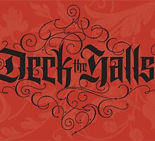 Elegant Red Black Christmas Card - Deck the Halls Hand Lettering Calligraphy by 26-Characters