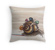 Snail back ride Throw Pillow