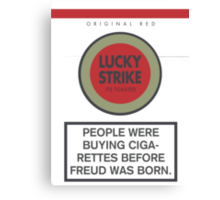 Lucky Strike Cigarette Box with Mad Men Quote Canvas Print