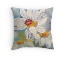 Lady bug on daisy with blue Throw Pillow