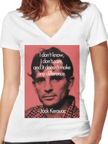 It Doesn't Make a Difference - Jack Kerouac Women's Fitted V-Neck T-Shirt