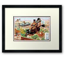 Flying Victorian Sci Fi Chocolate Delivery Framed Print