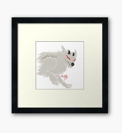 Ghostly Daemon Wolf Framed Print
