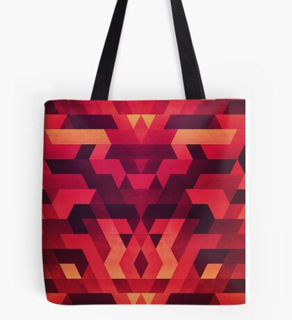 Abstract  geometric triangle texture pattern design in diabolic future red Tote Bag