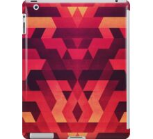 Abstract  geometric triangle texture pattern design in diabolic future red iPad Case/Skin
