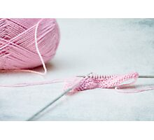 pink knitting Photographic Print