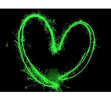 Sparkler Heart - Green Photographic Print