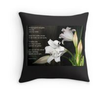 Vreugde is 'n wit lelie Throw Pillow
