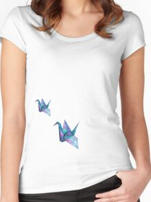 galaxy crane origami Women's Fitted Scoop T-Shirt