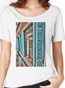 Blue shutters. Women's Relaxed Fit T-Shirt