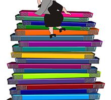"Whimsical Nun Art ""Nun and Books"" by gailg1957"