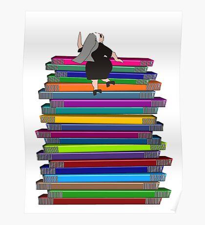 """Whimsical Nun Art """"Nun and Books"""" Poster"""
