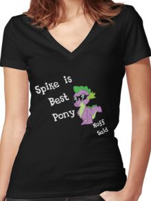 Spike is Best Pony Women's Fitted V-Neck T-Shirt
