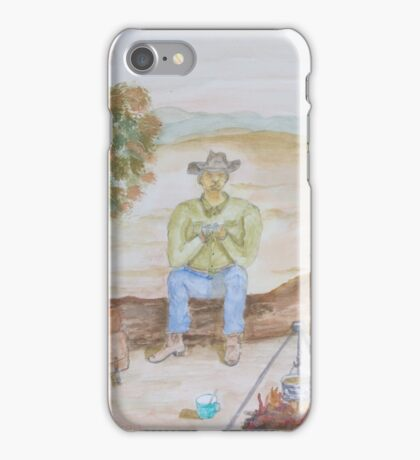 Stockman boiling the billy. iPhone Case/Skin