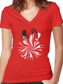 Candy Cane Children (on red) Women's Fitted V-Neck T-Shirt