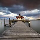 Roanoke Marshes Lighthouse - Manteo Lighthouse Outer Banks NC by Dave Allen