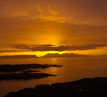 Sunset, Rum, Inner Hebrides, Scotland by Hugh McKean