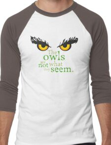 The owls are not what they seem! Men's Baseball ¾ T-Shirt