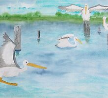 Pelicans in a coastal inlet. by Easel