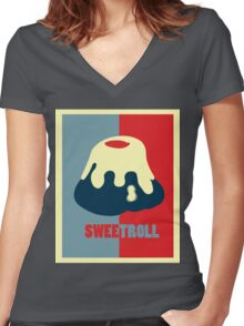 Believe In The Sweetroll Women's Fitted V-Neck T-Shirt