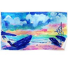 Next day after the storm, watercolor Poster