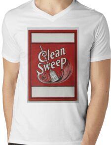 Clean Sweep Broom Label Mens V-Neck T-Shirt