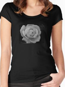 B&W Rose With Droplets Women's Fitted Scoop T-Shirt