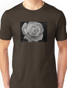 B&W Rose With Droplets Unisex T-Shirt