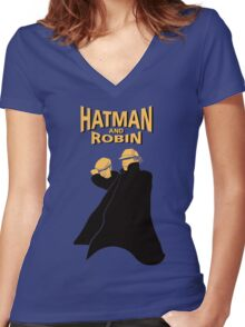 Hatman and Robin Women's Fitted V-Neck T-Shirt