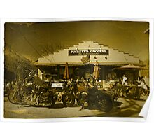 2 Harley Davidsons w/ Vintage Puckett's Grocery Store - Leipers Fork, TN  Poster