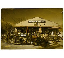 2 Harley Davidsons w/ Vintage Puckett's Grocery Store - Leipers Fork, TN  Photographic Print